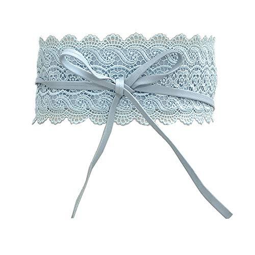 KaariFirefly modischer breiter Bund für Damen, Party, Stretch, schmal, Spitze, Taillenband, Gürtel, Schärpe, Dekoration für Kleid, hellblau