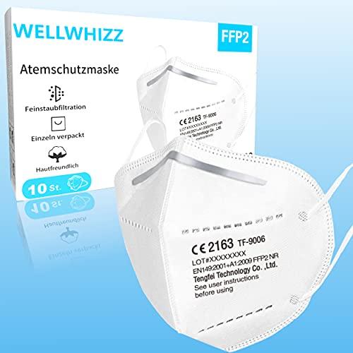 Premium FFP2 Masken 10 Stück • einzeln verpackt • Atemschutzmaske ohne Ventil FFP2 Mundschutzmaske • 5 lagiger Filter • angenehmes Tragegefühl • geprüft und Zertifiziert
