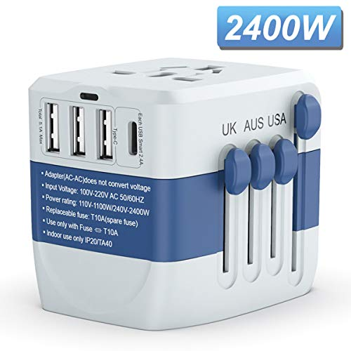 Travel Adapter 2400W,High Power Universal Travel Adapter, International Power Adapter, All in one Travel Plug Adapter, Travel Power Adapter for High Power Appliances,for EU UK US AUS 200+ Countries