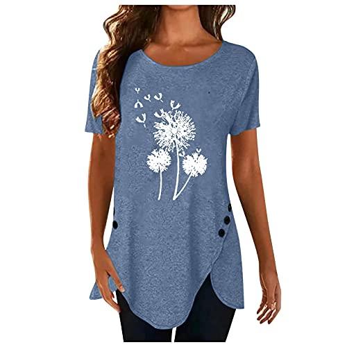 XOXSION Camiseta de verano para mujer, parte superior de diente de león, camiseta irregular con botones, camisa de manga corta, cuello redondo, túnica para mujer B azul XL