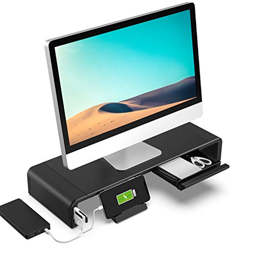 Klearlook (USB 3.0 Hub+Type C Port) Foldable Monitor Stand, 24W Quick Charge+5Gbps High-Speed Data Transfer Desktop Monitor Riser with 3-Width&Storage Drawer&Phone Holder forComputer/Printer/Laptop/TV