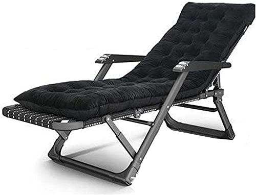 LVJFY Klappbarer Patio-Liegestuhl, lässiger Lounge-Stuhl mit Balkon, Klappstuhl mit hellem Pool, Gartenstuhl im Freien - gerader schwarzer Streifen + schwarzes Wattepad