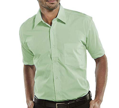Camisa Social Masculina Bom Pano Manga Curta Lisa Verde Clara