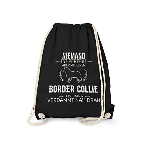 Fashionalarm Turnbeutel - Niemand ist perfekt - Border Collie | Fun Rucksack Spruch Geburtstag Geschenk Idee Hundebesitzer Hundefreund Rasse Hund, Farbe:schwarz