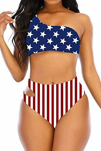 Adisputent Womens High Waisted Bikini One Shoulder Asymmetric Swimsuits Bandeau Swimwear Sexy High Cut Two Piece Bathing Suits American Flag S