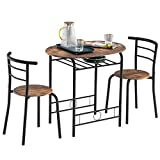 Henf 3 Piece Dining Set Table and 2 Chairs, Small Kitchen Table Set, Bistro Table Set, Pub Breakfast Table for Apartment and Kitchen, Space Saving Industrial Style (Rustic Color)