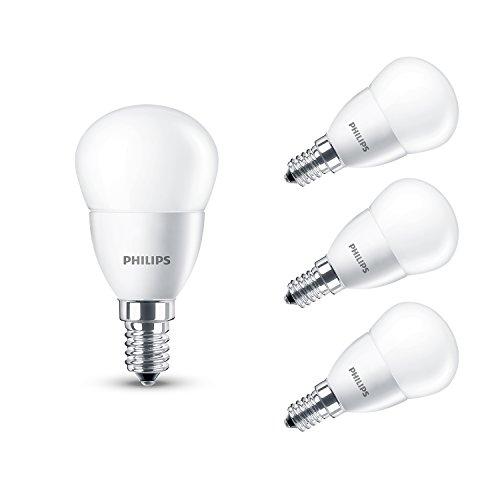 Philips Ampoule 230 V avec culot à vis Edison E14 6W LED Blanc Chaud Surface effet givré, Lot de 4, E14 (Small Edison Screw) 230 volts
