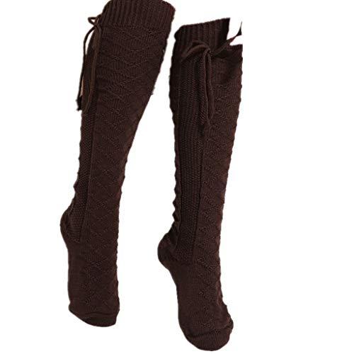 Shulky Damen Strick Wintersocken Gestrickt Lange Socken Süße Schön Bequem Warme Dicken Beinlinge Zopfmuster Häkeln Frauen Socken 1 Paar(Kaffee)