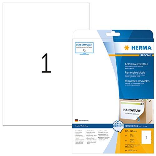 HERMA 10021 Universal Etiketten DIN A4 ablösbar, groß (210 x 297 mm, 25 Blatt, Papier, matt) selbstklebend, bedruckbar, abziehbare und wieder haftende Adressaufkleber, 25 Klebeetiketten, weiß