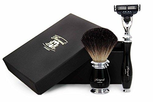 Haryali London Rasoir à cartouche 3 bords avec brosse à cheveux Noir Blaireau Kit de rasage parfait pour homme Livré dans une boîte