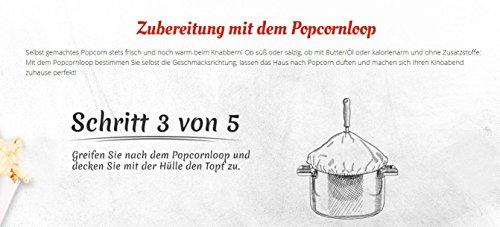 Popcornloop Heimkino-Set inkl. Rührstab, 1x Ersatzhaube, 1x Premium Popcorn Mais 500g - 6