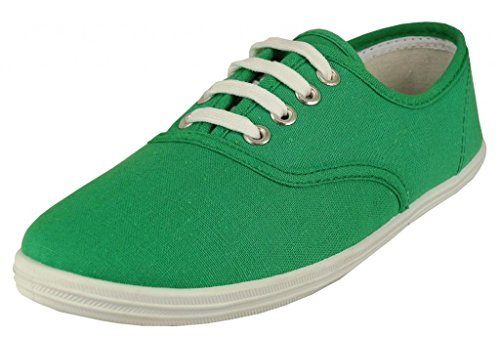 Easy USA - Womens Canvas Lace Up Shoe with Padded Insole Holly Green-9