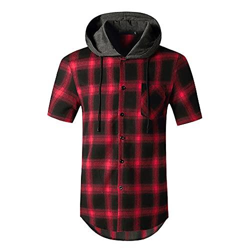 Sudadera Capucha Hombre Verano Cuello Redondo Hombre T-Shirt Cuadros Estampado Manga Corta Deportiva Camisa Empalme Informal Shirt Aire Libre Viajes Mecha Correr Shirt D-Red 2 L