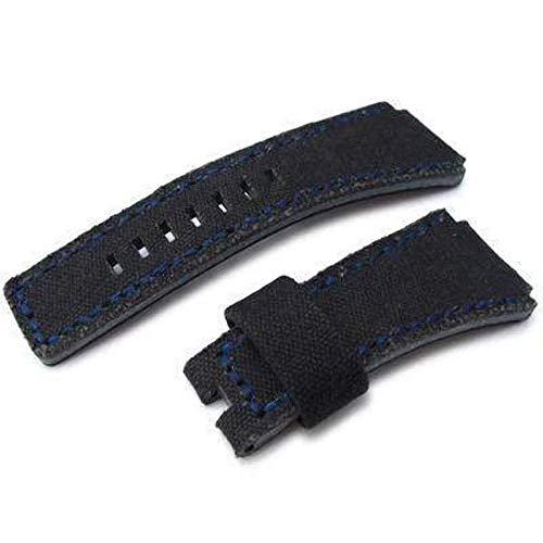 Strapcode MiLTAT Canvas lavato nero per cinturino di ricambio Bell & Ross, punti blu