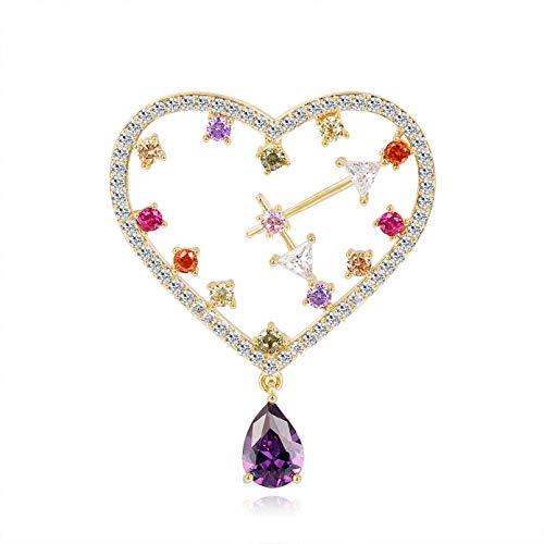 QPODGQ Broche Coraz¨n Reloj Broches De Circ¨n Perla De Cristal para Mujer Alfileres Bufanda Hebilla Accesorios De Su¨¦TER