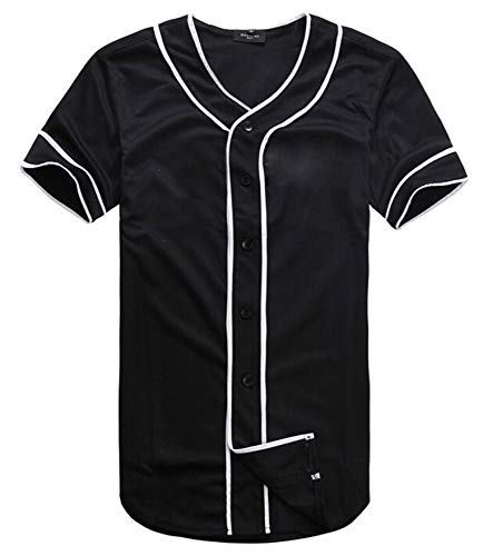 Womens Mens Black White Hip-Hop Plain Solid Colors Casual Baseball Jersey Shirt