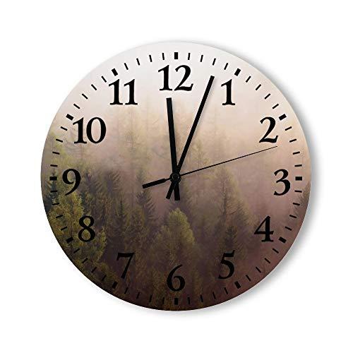 no brands Reloj de pared redondo de madera para decoración del hogar redondo sin garrapatas, madera natural, panorámica, mañana de verano, 15 pulgadas