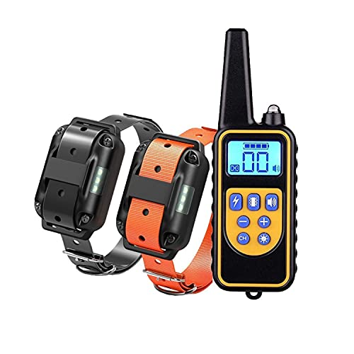 Dog Training Electric Collar, Waterproof Rechargeable 2600ft Remote Dog Shock Collar with LED Light, Beep, Vibration, Shock for Medium/Large Breed 2 Electronic Collars, Neck Lanyard