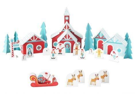 Forum Traiani Bastelbogen Weihnachtliches Dorf 13 Figuren, 4 Häuser, 5 extra Elemente - Pukcaka DIY Bastelbögen Papier-Karton für Kindergeburtstag als Geschenkidee, Bastelidee für Jungs und Mädchen