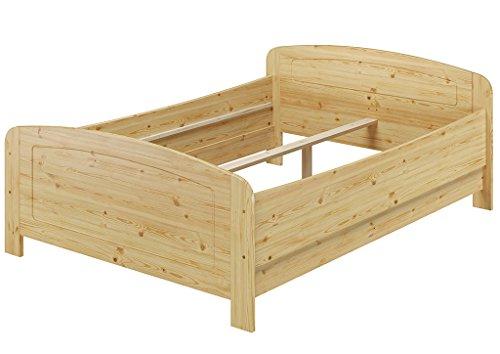 Erst-Holz® Seniorenbett extra hoch 140x200 Doppelbett Holzbett Massivholz Kiefer Bett ohne Zubehör 60.44-14 oR