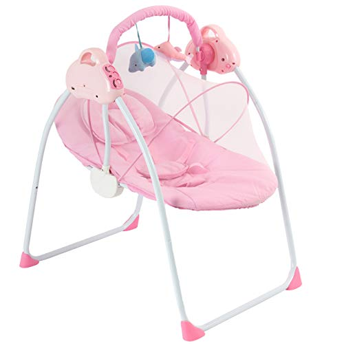 Baby Swings Portable Swing with Music Baby Rocking Chair 3-Speed Adjustable Safe Soothing Swing Removable Washable Mattress Breathable Net and Seat Belt Baby Swings for Infants 0-18 Months Girls(Pink)