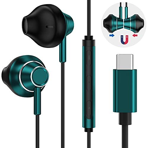 Beyeah HiFi 4D Stereo USB C Kopfhörer, Typ C Kopfhörer mit Kabel Magnetisch mit Mikrofon und Lautstärkeregler für Huawei P40/P30 /P20, Google Pixel 5/4/3, iPad Pro 2018, OnePlus, Samsung S21+/S20