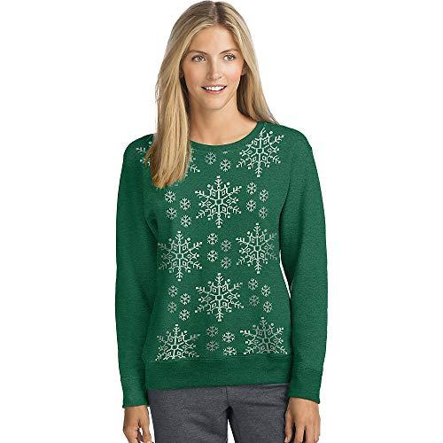 Hanes Women's Ugly Christmas Sweatshirt, Emerald Night, X Large