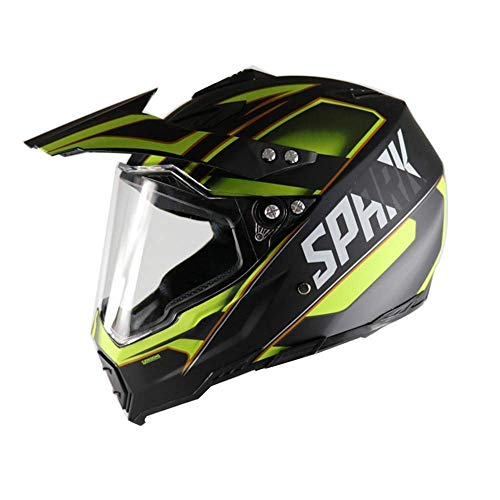ZZKK Motocycle Helmen Mountainbike Helm Harley Helm Vier Seizoenen Road Race Dual-use Lens Cross-country Helm (Geel)