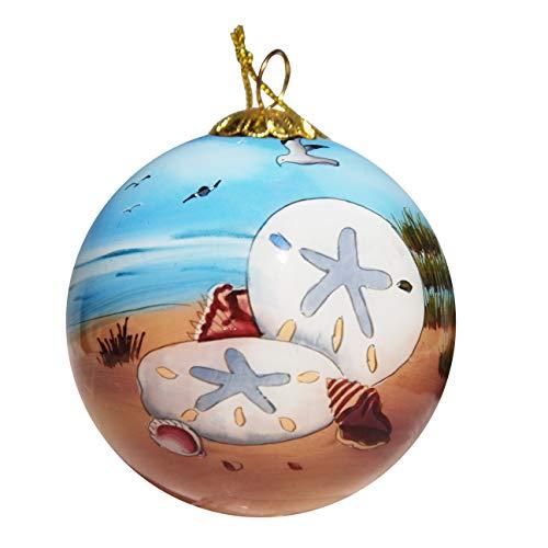 Art Studio Company Hand Painted Glass Christmas Ornament - Sand Dollars On Beach Cayman Islands