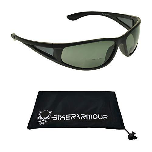 proSPORT Polarized Bifocal Matte Black Smoke Lens Sunglasses +2.50 Wrap Around Side Shield for Men Women. Nearly Invisible Reader Line