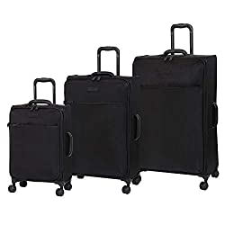 in budget affordable Luggage Shiny Lightweight Expanding Swivel Wheel, Black, Set of 3 (22/28/32)
