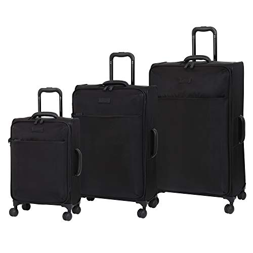 it luggage Lustrous Lightweight Expandable Spinner Wheels, Black, 3-Piece Set (22/28/32)