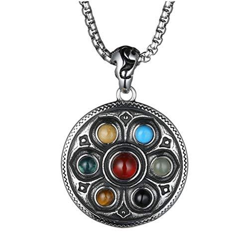 HIJONES Men's Stainless Steel Vintage Gothic Buddhist Tibetan Lotus 7 Chakra Gemstone Pendant Necklace