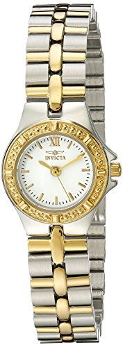 Invicta Wildflower Collection 0136 - Reloj de acero inoxidable chapado en oro de 18 quilates para mujer