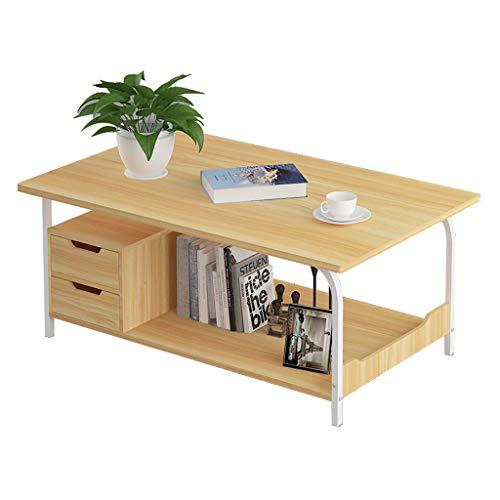 FABAX salontafel Scandinavisch creatief vierkant houten paneel salontafel met 2 lades opslag dikke stalen pijp woonkamer bank einde tafel eindtafel
