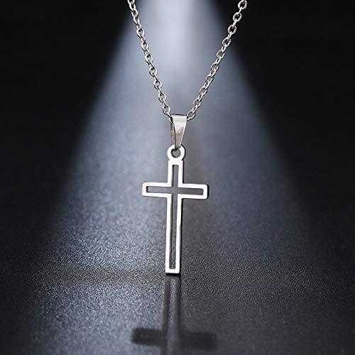 YQMR Colgante Collar para Mujer,Elegante Collar De Mujer Plata Hueco Grabado Cruz Oración Colgante Joyería Clásica Regalo para Mamá Cumpleaños Amistad Familia