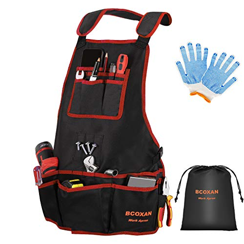 Bcoxan Heavy Duty Work Apron for men,26 Pockets Shop Apron with Gloves,Cross-Back Straps Work Apron,Waterproof Tool Apron From S to XXLL (Red)