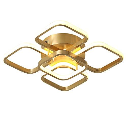 Moderno Lámpara De Techo para Habitación Juvenil Salón LED Regulable Luz De Techo Latón H65 Lámpara De Dormitorio Cuadrada Geométrica Creativa Sala De Las Niñas Balcón Estudiar Dorado