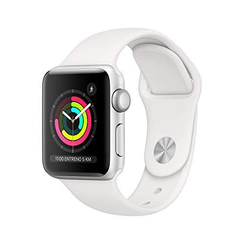 Apple Watch Series 3 (GPS, 38 mm) Cassa in Alluminio Argento e Cinturino Sport Bianco