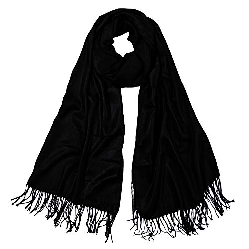 SOJOS Womens Large Soft Cashmere Feel Pashmina Shawls Wraps Winter Scarf SC304 with Black