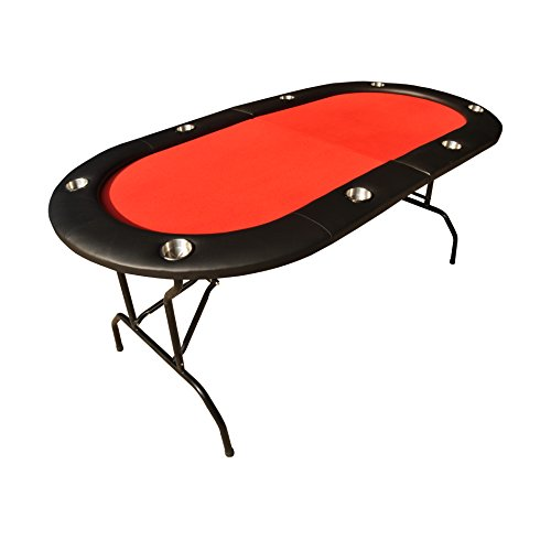 """IDS Poker Texas Holdem Poker Table for 73"""" 8 Players Padded Rails and Cup Holders Red Felt Foldable Legs"""