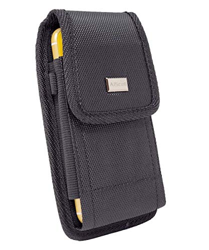 AIScell Metal Belt Clip Holster ,Rugged Black Nylon Canvas Pouch Carrying Case, for LG Stylo 5 , 5v , 5+ , Stylo 2 V ,Stylo 3 Plus ,Stylo 3 ,Stylo 4 ,Stylo 4 Plus, Q70, with Hybrid Protective Cover on