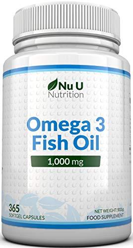 Omega 3 Fish Oil 1000 mg | Huile de poisson/oméga-3 | Cure d'1 An/365 Gélules | Compléments alimentaires de Nu U Nutrition