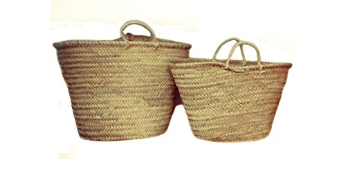 Capazo de Palma Básico, con Asas Corta de Pita. Cesto o Bolso de Mimbre para la Playa, Fibras Naturales. (10V, Aprox. 51x31 cm)