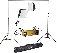 Westcott Photo Basics uLite Three Light Kit with 3 Constant Output uLites, Softboxes, Stands, Bulbs & Accessories - Bundle with Flashpoint 10' Background Support System