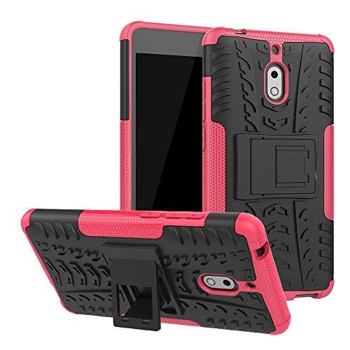 LFDZ Nokia 2.1 Custodia, Resistente alle Cadute Armatura Robusta Custodia Shockproof Protective Case Cover per Nokia 2.1 Smartphone (Nokia 2 2017),Rosa