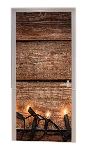 A.Monamour Türtapeten Selbstklebend 3D Alte Vintage Holzbohlen Mit Lichtern Holz Textur Hintergrund Urlaub Dekoren Türtapete Türposter Tapete 77x200cm