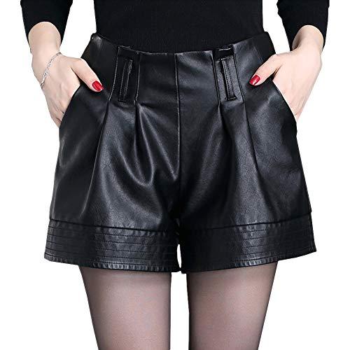 Valin VF6901 Damen Große Größe Hohe Taille Kunstleder Shorts Leder Kurze Hose,Schwarz,4XL