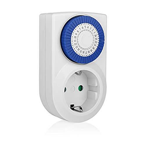 Smartwares 10.047.40 Enchufe con temporizador analógico programable TM101 para uso en interior, fácil de usar y compatible con lámparas halógenas