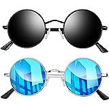 Joopin Redondas Gafas de sol Polarizadas Retro Vintage John Lennon Círculo Metálico Hippie Steampunk para Hombres y Mujeres 2PCS (Negro+Azul)